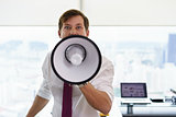 Angry Businessman Corporate Worker Screams With Megaphone