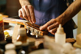Artisan Lute Maker Fixing Stringed Instrument Replacing Guitar C