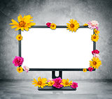Monitor with flowers