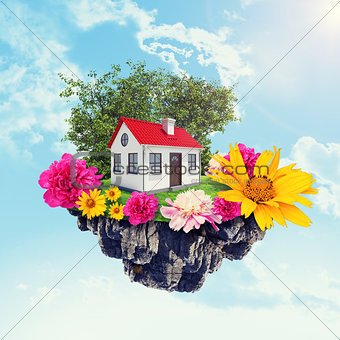 House with flowers on island