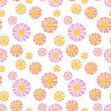 Floral seamless pattern with daisies on white background.