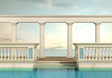 luxury swimming pool with balustrade and colonnade