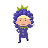 Kid In Blackberry Costume. Vector Illustration