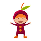 Kid In Cherry Costume. Vector Illustration