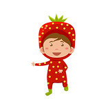 Kid Wearing Strawberry Costume. Vector Illustration