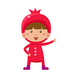 Kid In Pomegranate Costume. Vector Illustration