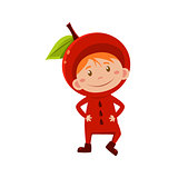 Kid In Apple Costume. Vector Illustration