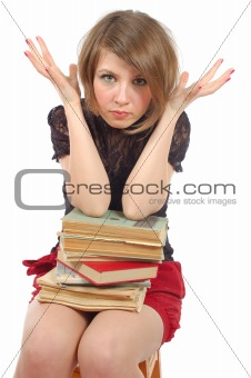 sitting girl with books