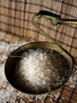 Rice on a scale