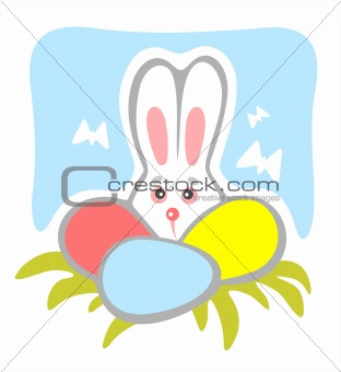timid rabbit and eggs