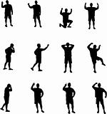 various man expressions silhouettes