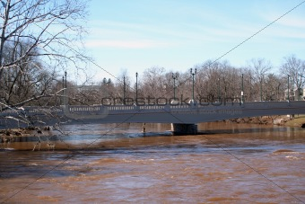 Bridge over rising flood waters