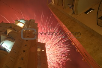 fireworks between two buildings