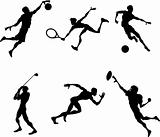 Sports players silhouettes