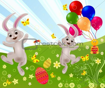 Abstract easter rabbit vector illustration
