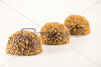 Three candies isolated on white background