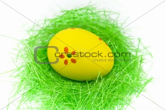 One yellow easter egg with green grass