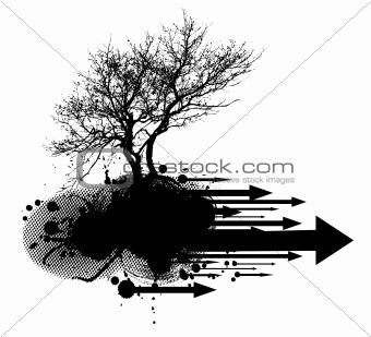 Grunge modern tree design element