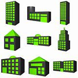 Buildings Exterior Icon Set in 3d Black