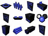 Logistics Process Icons For Supply Chain Diagram in Black Blue