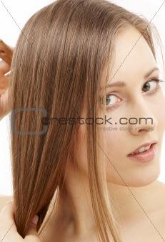 combing woman