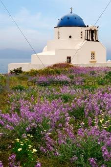 Countryside chapel in Santorini, Greece