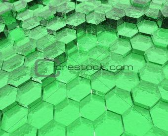 Green Translucent Hexagons