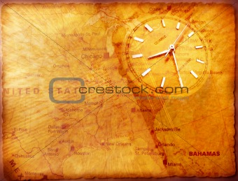 Clock with old map