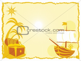 background with treasure and ship