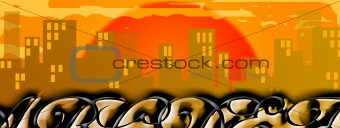 Cityscape graffito at sunset