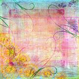 Distressed pastel background with decorative floral frame