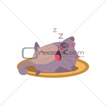 Cat Sleeping And Snoring Adorable Emoji Flat