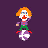 Clown Balancing On Ball