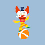Clown Balancing On One Leg
