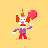 Unhappu Clown Holding Balloon