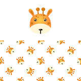 Giraffe Head Icon And Pattern