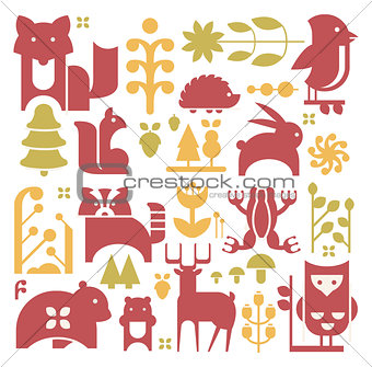 Forest Plants And Animals Set