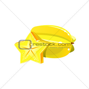 Carambole Flat Vector Sticker