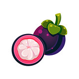 Mangosteen Flat Vector Sticker