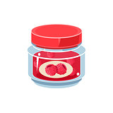 Raspberry Jam In Transparent Jar
