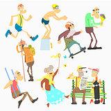 Old People Activities, Flat Vector Illustration Set