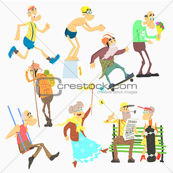 Old People Activities, Flat Vector Illustration Set