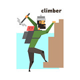 Rock Climber Abstract Figure