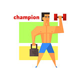 Man Champion Abstract Figure