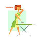 Houswife Ironing Abstract Figure