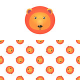 Lion Head Icon And Pattern