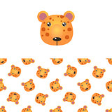 Leopard Head Icon And Pattern