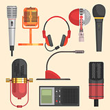 Microphone Vector Illustration Set