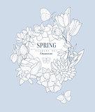 Spring Flowers Vintage Sketch