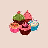 Five Cupcakes Set